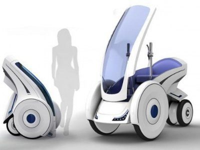 Image 1 : Folding Electric Vehicle, à mi-chemin entre un quad et un Segway