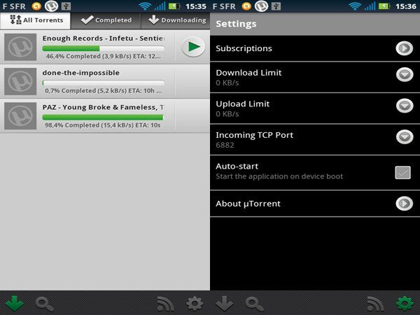 Image 1 : µTorrent arrive sur Android
