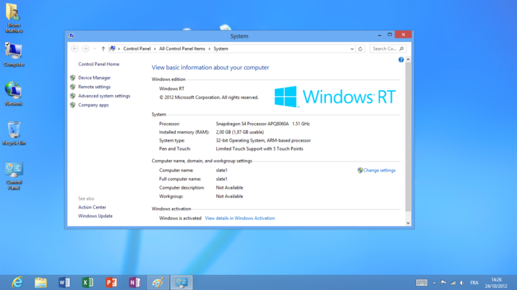Image 2 : Windows RT : le test de l'OS des tablettes Surface