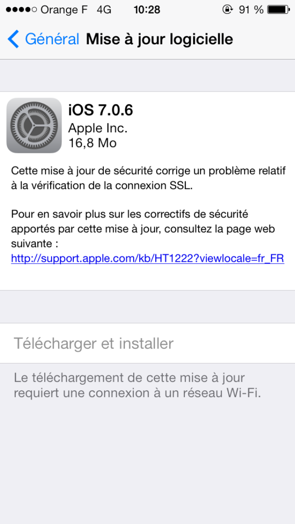 Image 1 : iOS 7.0.6 corrige une grosse faille sur iPhone, iPad et iPod