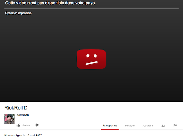 Image 1 : YouTube suspend le Rickroll