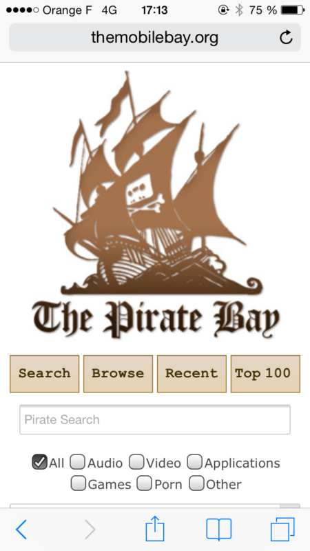 Image 1 : The Pirate Bay lance un site mobile