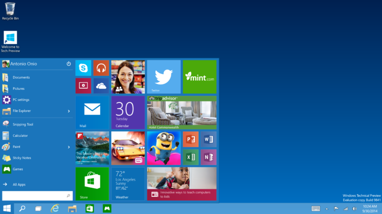 Image 1 : Windows 10 : téléchargez la Technical Preview