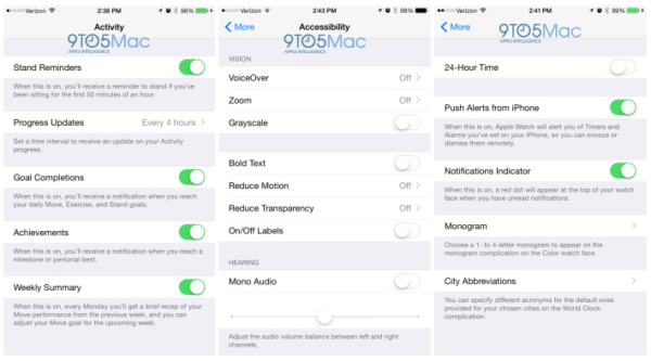 Image 1 : L'application iOS de l'Apple Watch nous en dit plus sur la montre d'Apple