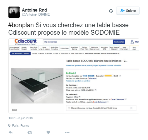 Image 1 : Table Sodomie et autocollants en croix gammée, le weekend infernal de Cdiscount