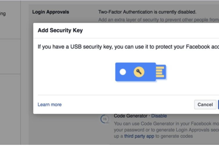 Image 2 : Facebook ajoute l'authentification via clé USB