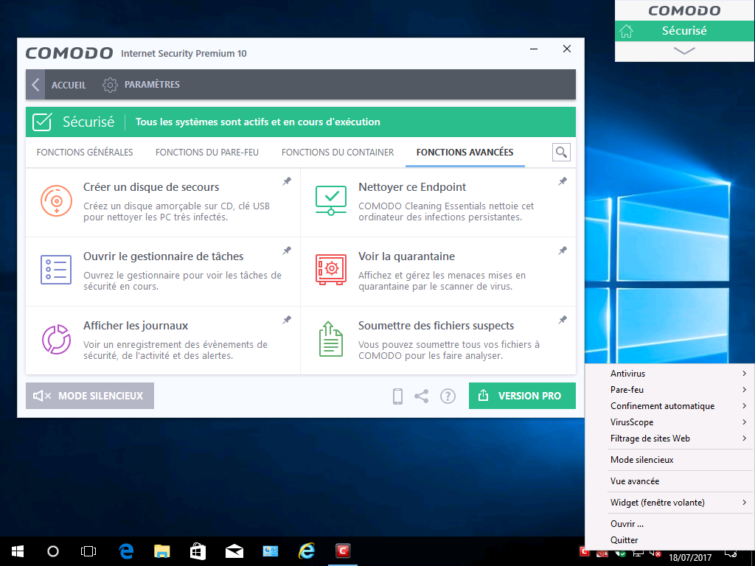 Image 8 : [Test] Comodo Free Internet Security 10 : la suite des Geeks