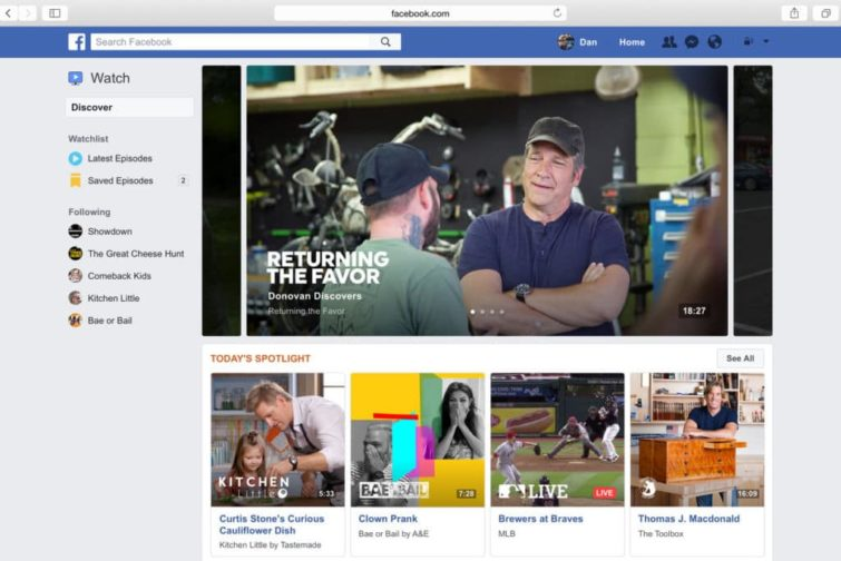 Image 1 : Watch : Facebook concurrence YouTube et lance son propre service de vidéo