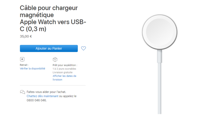 Image 2 : Un chargeur USB-C pour l'Apple Watch