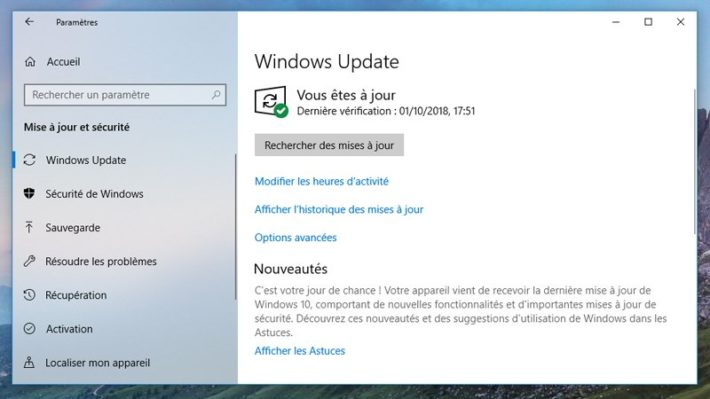 Image 2 : Windows 10 : comment télécharger la grosse mise à jour d'octobre 2018 ?