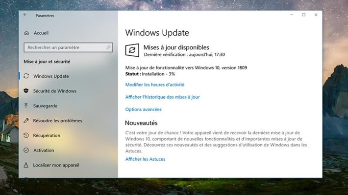 Image 3 : Windows 10 : comment télécharger la grosse mise à jour d'octobre 2018 ?