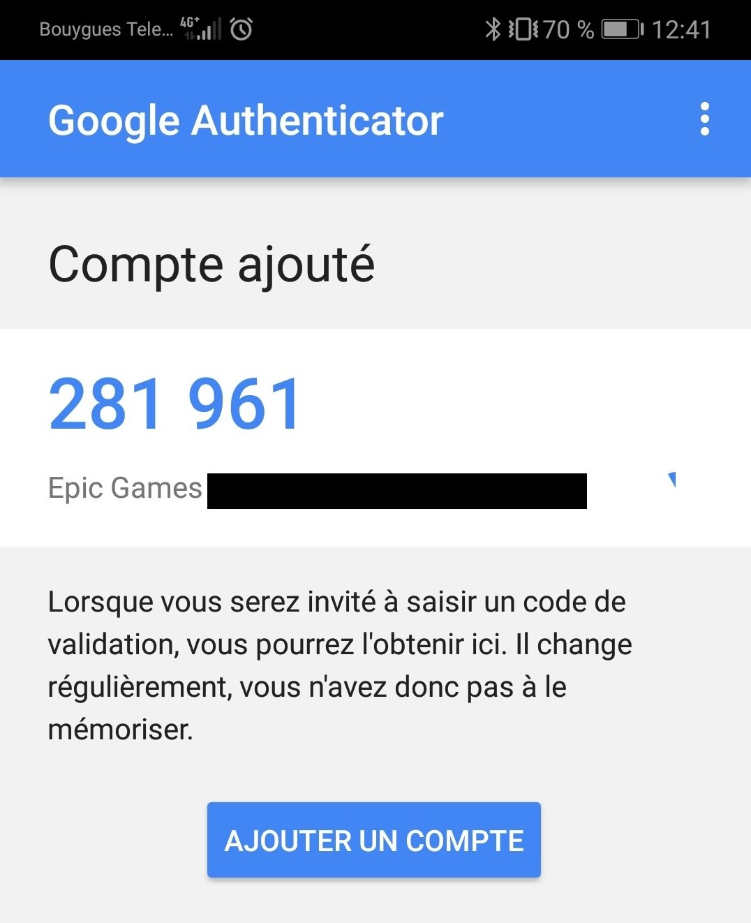 Google Authenticator code Fortnite
