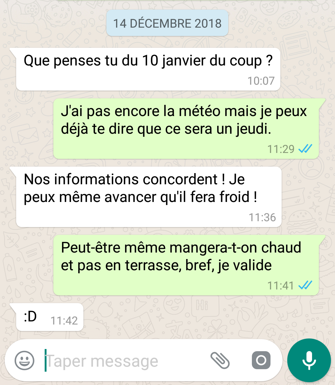 discussion whatsapp double coche