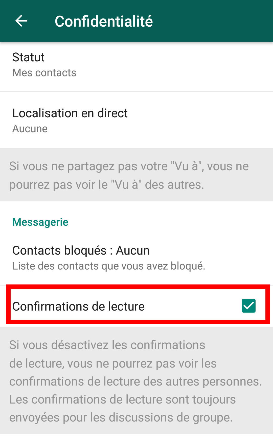 Confirmation de lecture Whatsapp