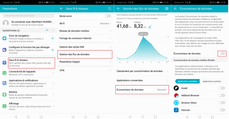 desactiver applications android hors forfait