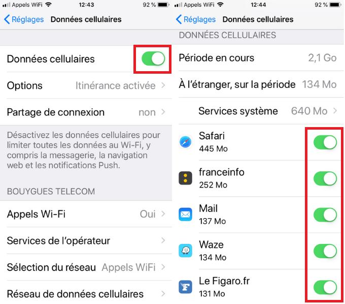 gestion donnees ios