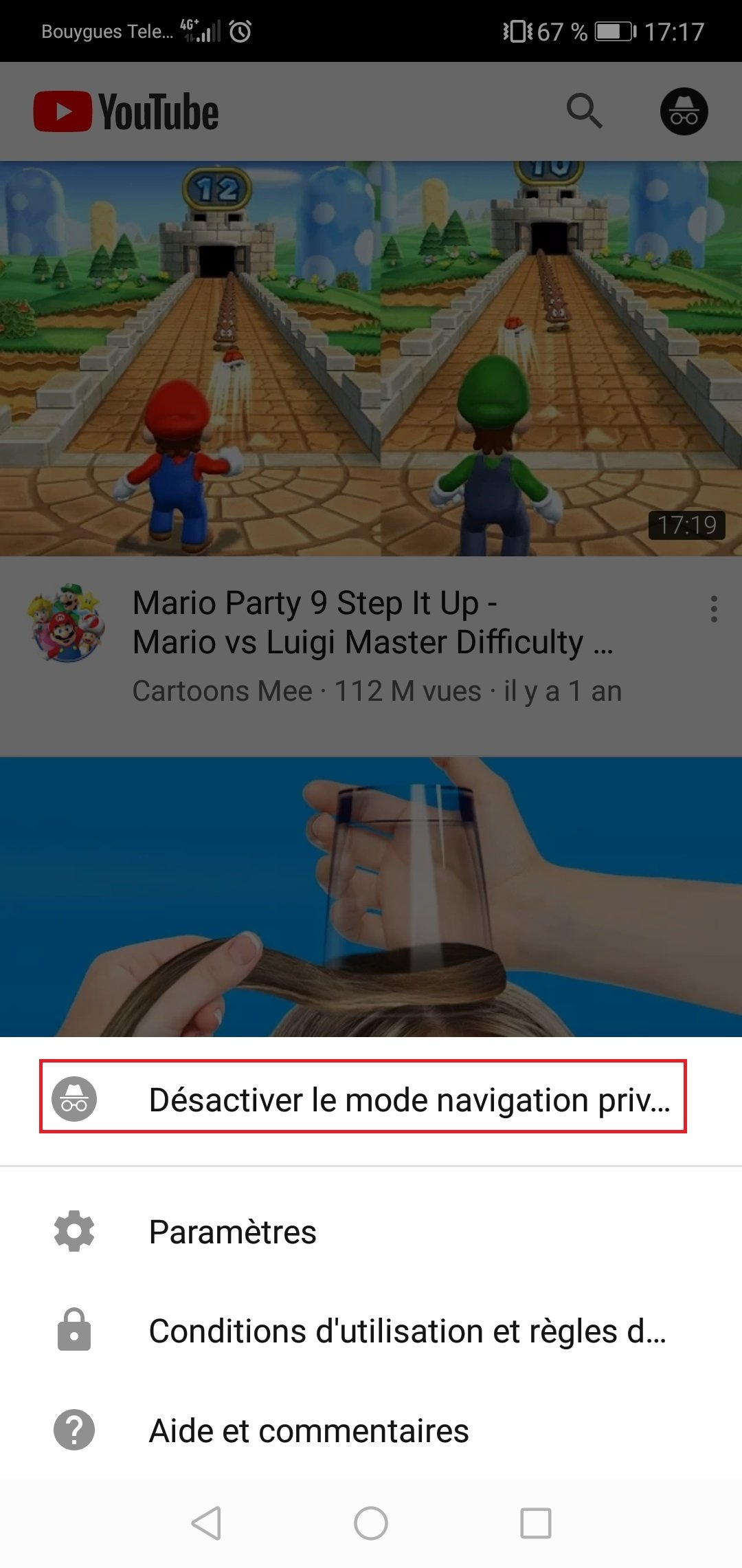 desactiver navigation privee youtube