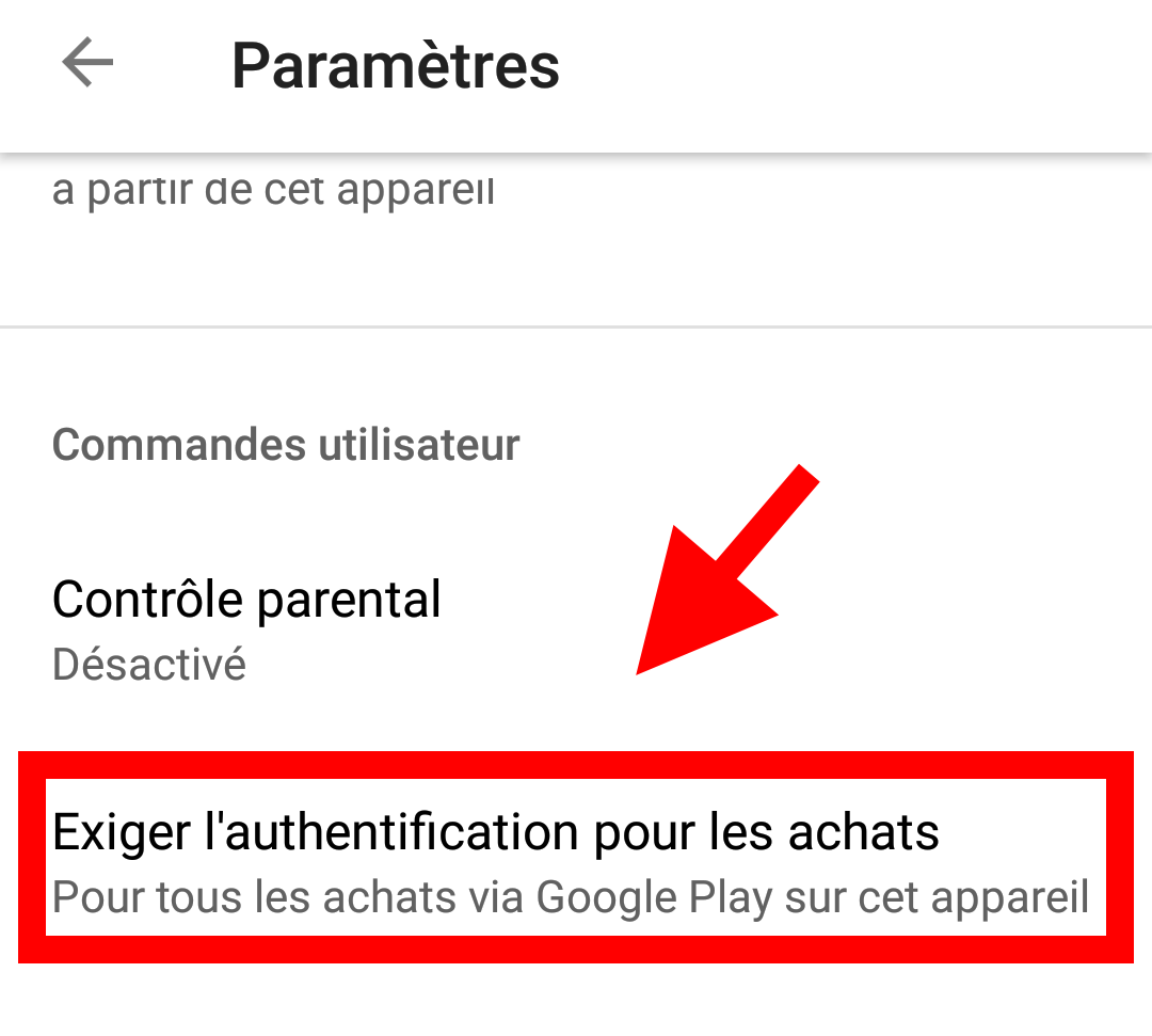 authentification achat application android
