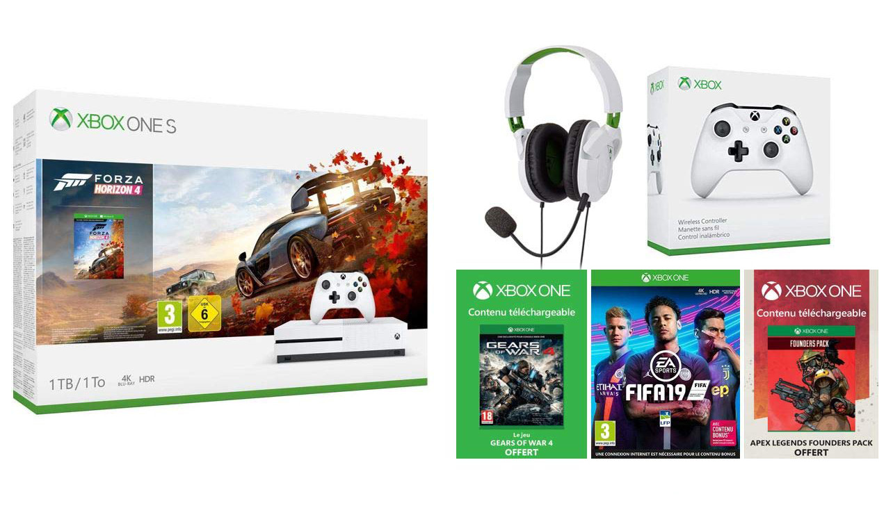 Image 1 : [Promo] Xbox One S 1 To + casque + manette + 3 jeux à 330 €