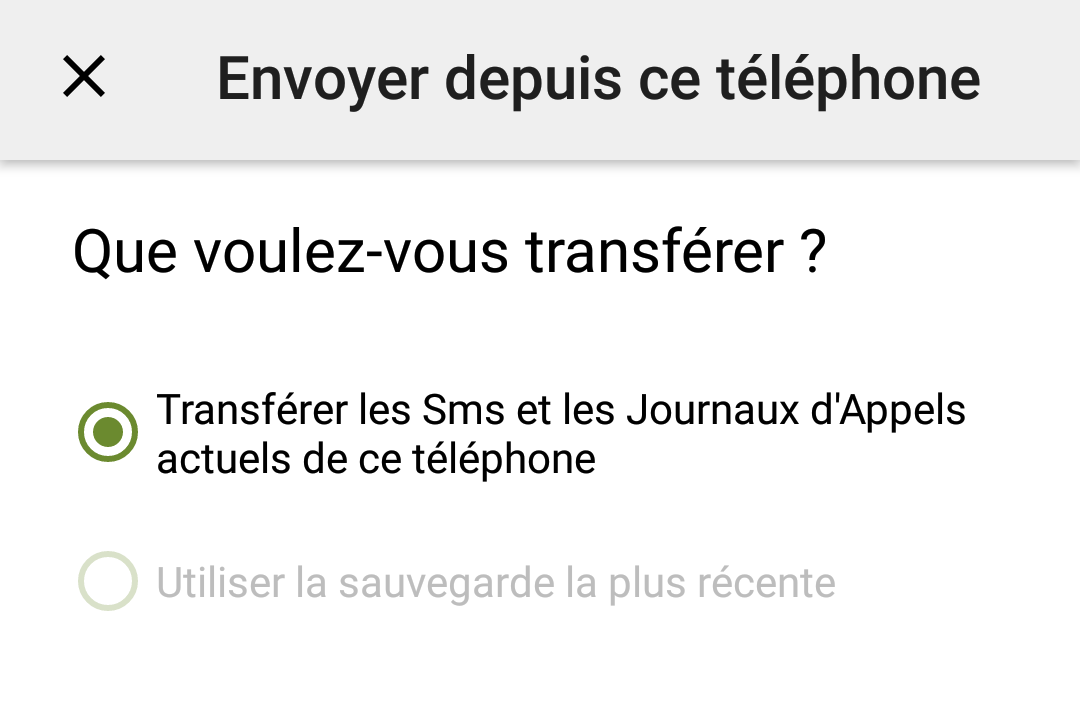 validation transfert sms mms android