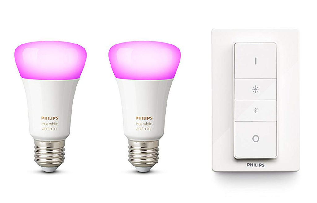 Image 1 : Les 2 ampoules connectées Philips Hue E27 White and Color + variateur à 79 €