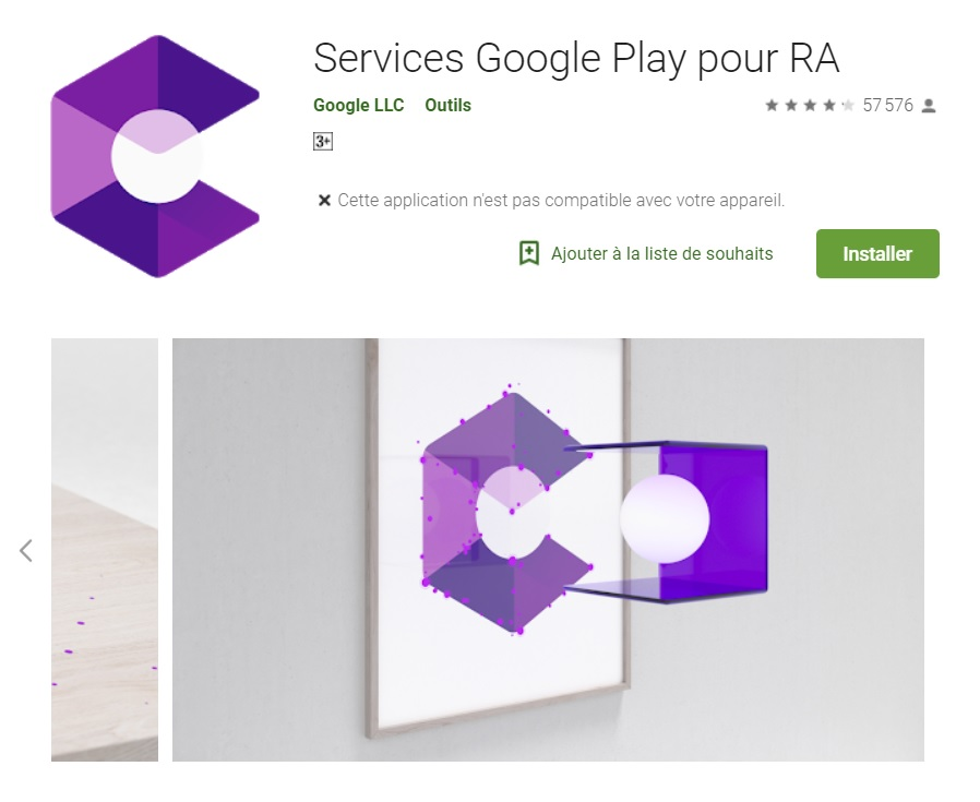 Image 1 : Google rebaptise l'application ARCore en « Services Google Play pour RA »