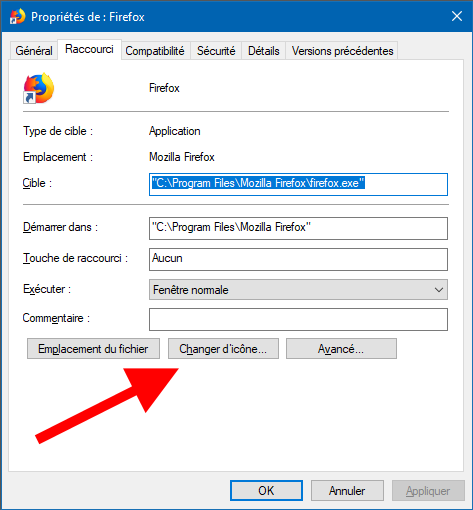 modifier icone raccourci windows 10