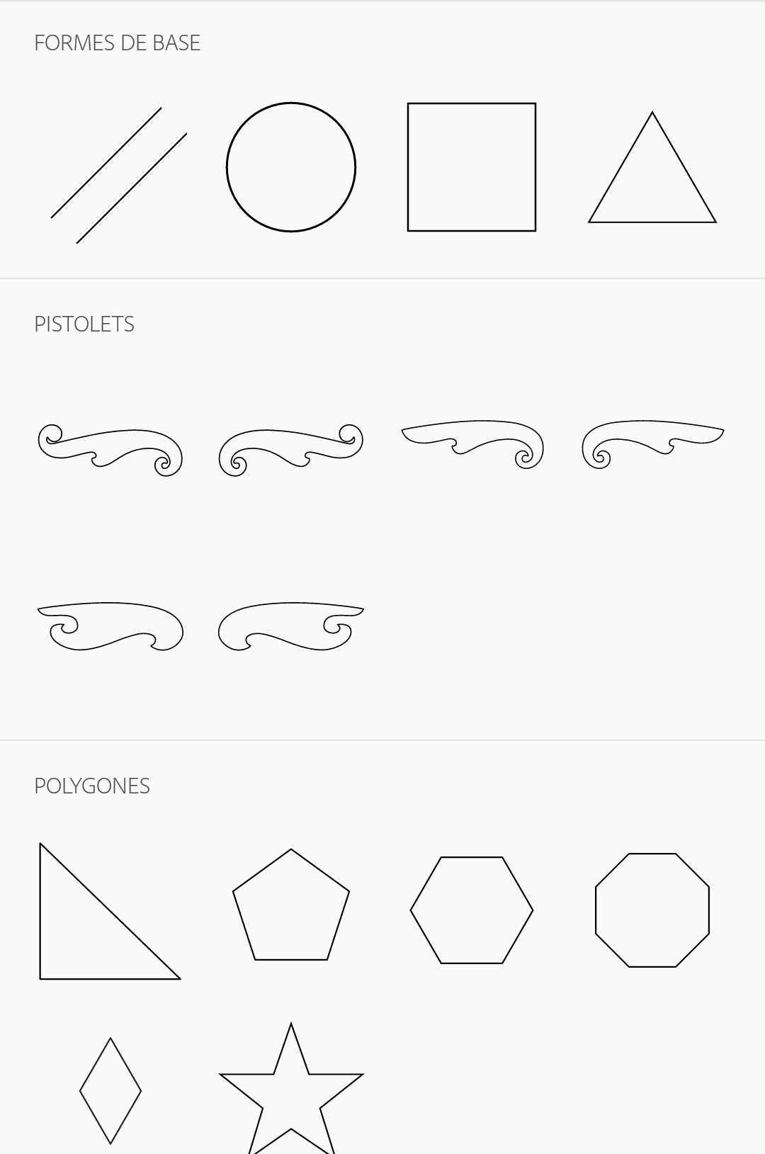 formes dessin application mobile
