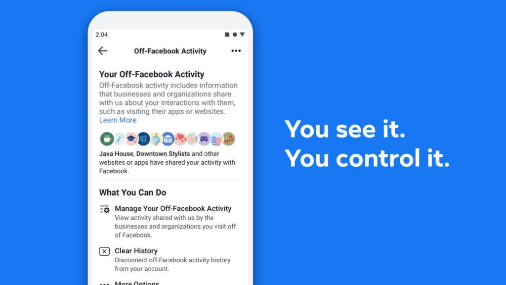 Image 1 : « Off-Facebook Activity », l'outil qui montre comment Facebook vous suit partout
