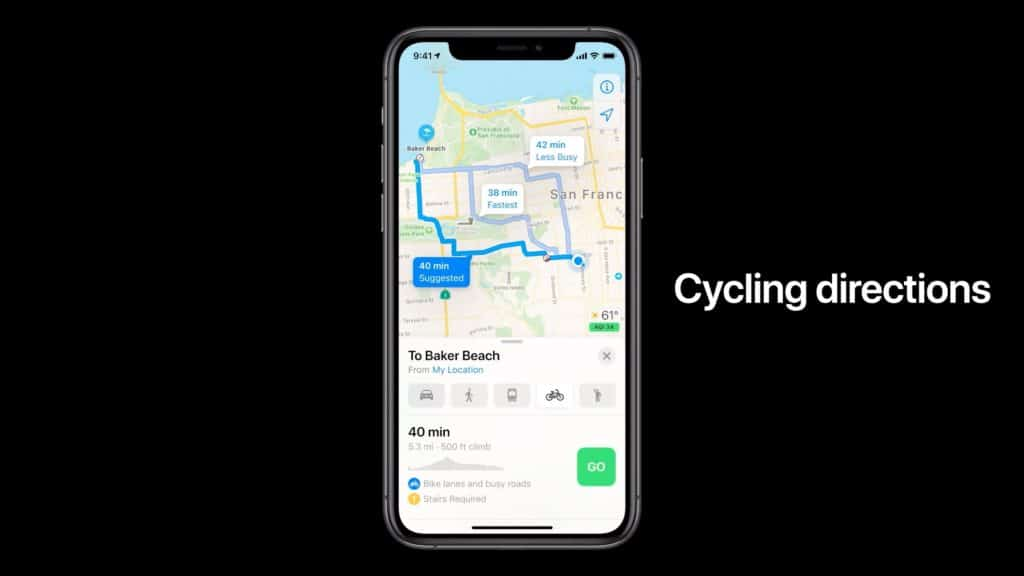 ios 14 apple plans vélo