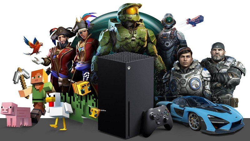 The Xbox Series X with the major Xbox exclusivities.