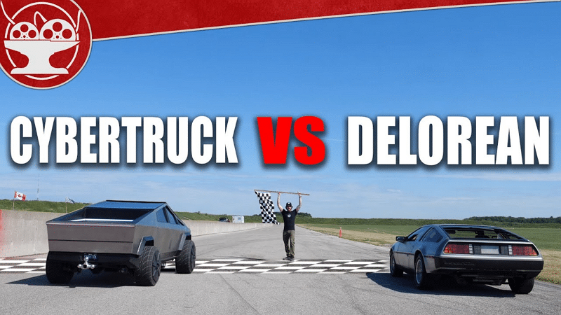 Tesla Cybertruck miniature vs Dolorean - The Hacksmith / YouTube