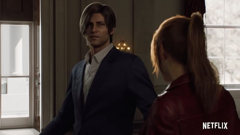 Leon S. Kennedy et Claire Redfield dans Resident Evil Infinite Darkness